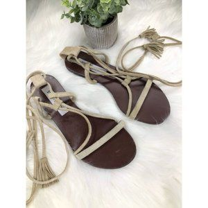 Steve Madden Leather Suede Lace Up Sandal Size 7